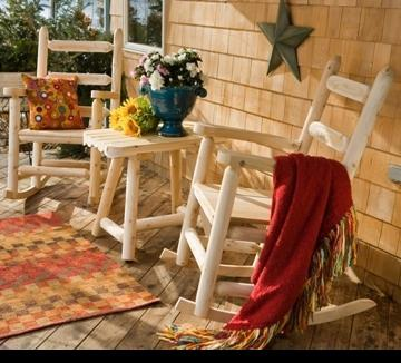 Ladder Back Log Porch Rocker