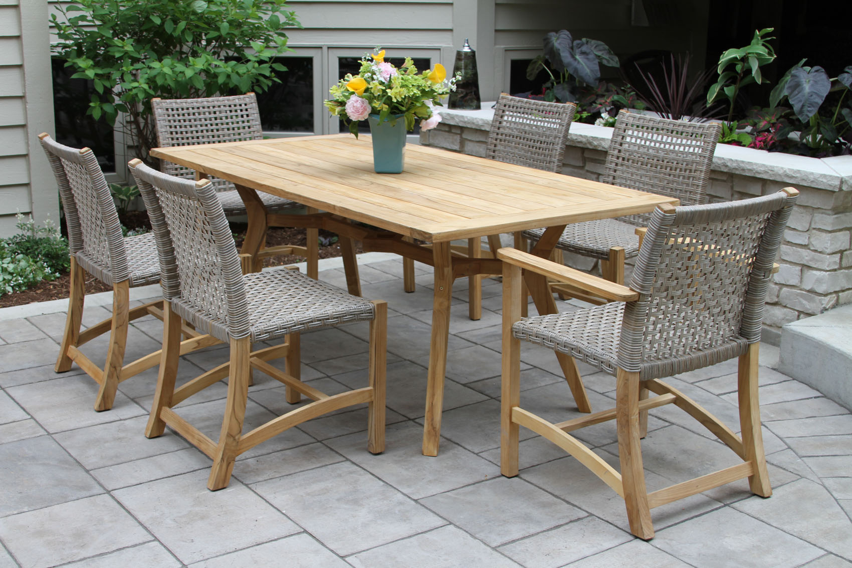TNA7912-Nautical-Teak-Rectangle-Dining-Table-with-TNA2266-Wicker-Teak-Dining-Side-Chair-TNA2288-Wick