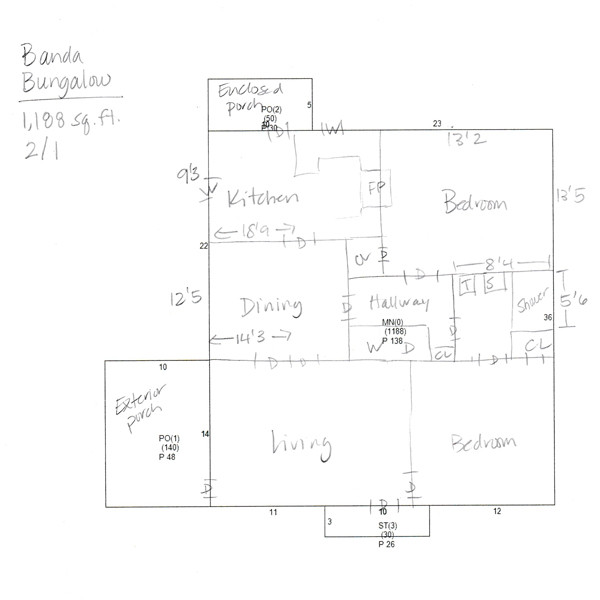 Original Floor Plan for Banda Bungalow