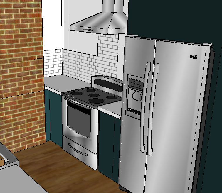 E-Design Room Plan - Stove and Refrigerator Wall