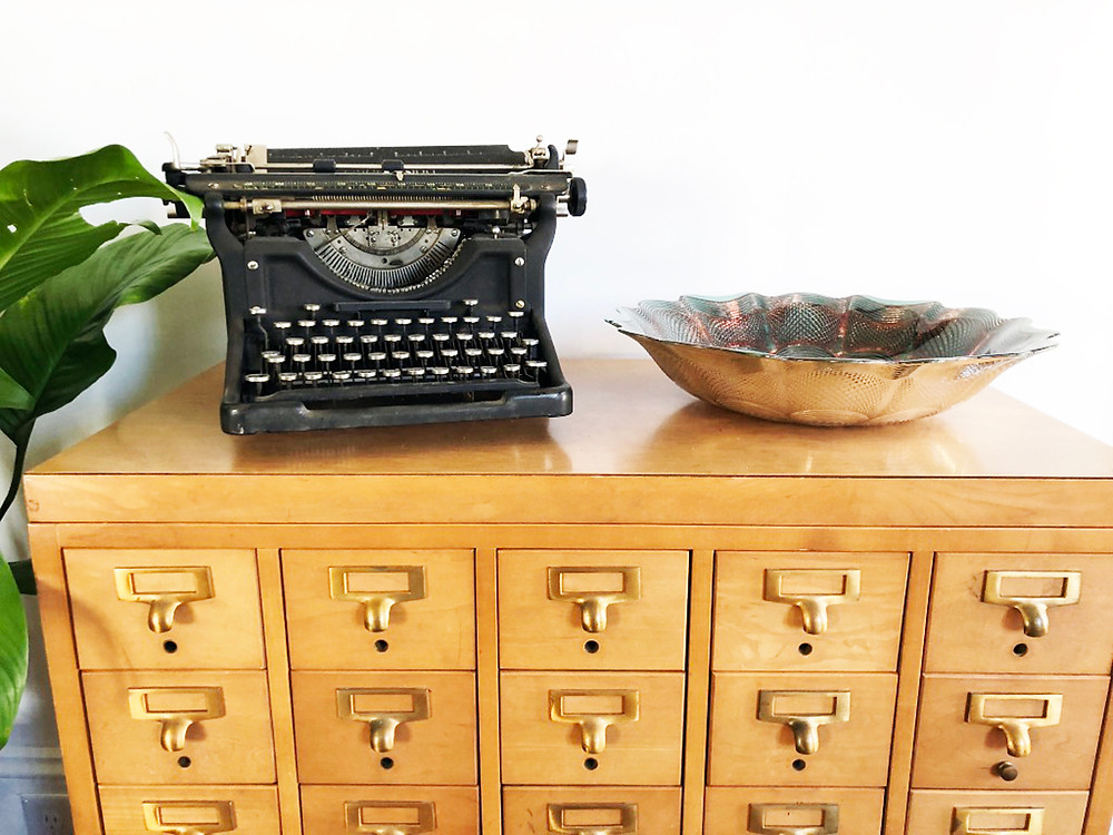 Vintage Typewriter and Card Catalog - After Living Room