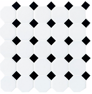 Octagon and Dot Black and White Tile.png