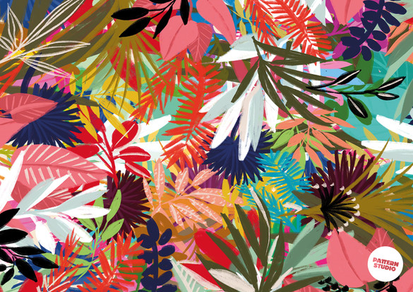 PatternStudio Berlin Flora&FAUNA  COLORFUL JUNGLE tropisches Pflanzenmuster