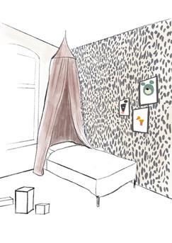 Skizze für Tapete im Schlafzimmer von Pattern Studio