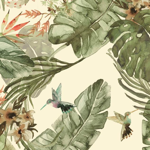 Pattern Studio - jungle motive with hummingbirds