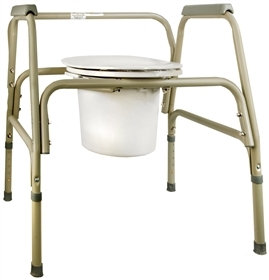 Commode Chair SunMark® Fixed Arm Steel Frame Seat Lid Back 25.5 to 32.5 Inch