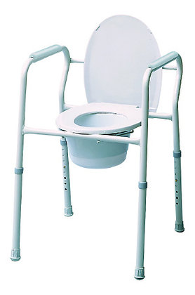 Commode Chair Fixed Arm Steel Frame Steel Back Bar 15.5 to 23.5 Inch