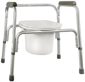 Commode Chair SunMark® Fixed Arm Aluminum Frame Seat Lid Back 16 to 22 Inch