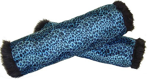 Blue Cheetah Cylinder Pillow Set