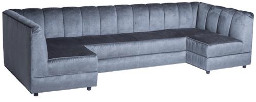 channel tufted u shaped sofa