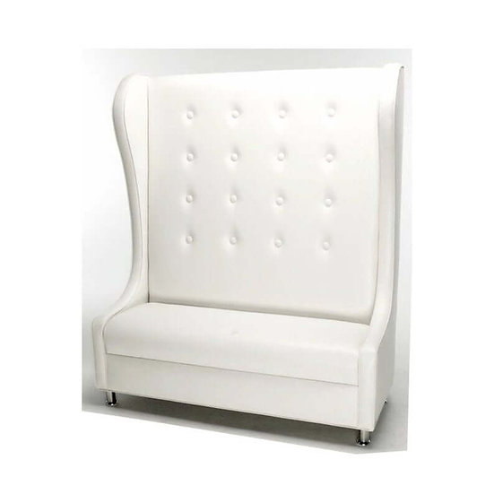 throne loveseat upholstered in white faux leather
