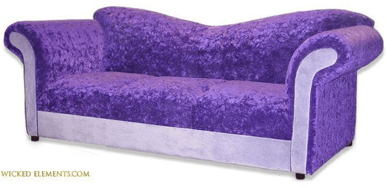 enchanted sofa in crush purple and wicked lilac