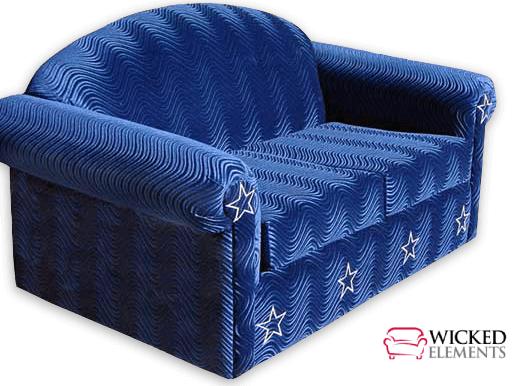 rockstar sleeper upholstered in swirl blue