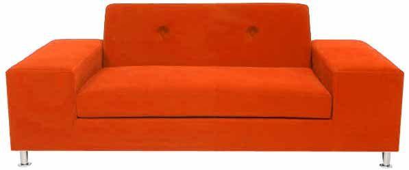 sleek sofa upholstered in orange suede