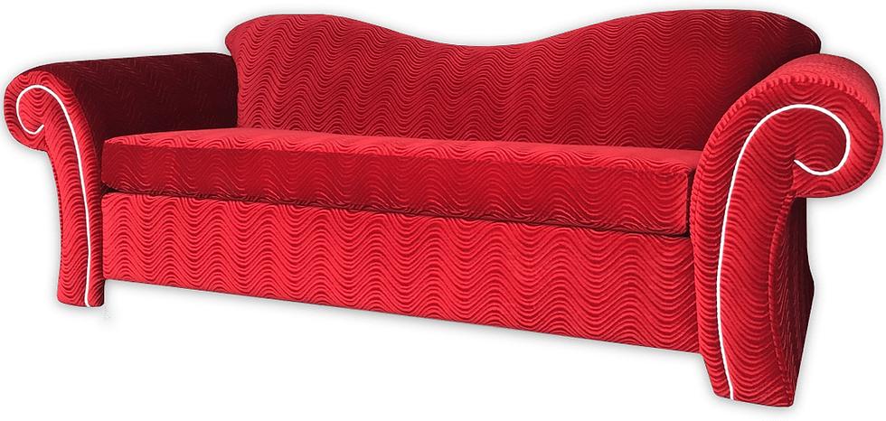 queen size sleeper sofa in red swirl