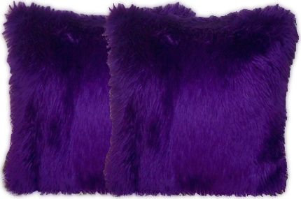 Purple Faux Fur Pillow Set
