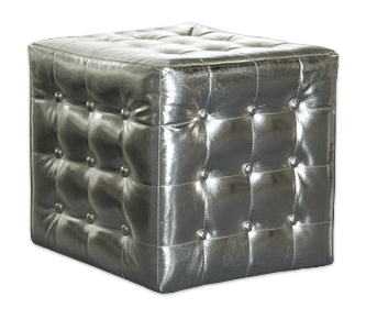 Silver Tufted Ottoman