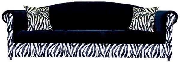funky sofa upholstered in wicked black and zebra print