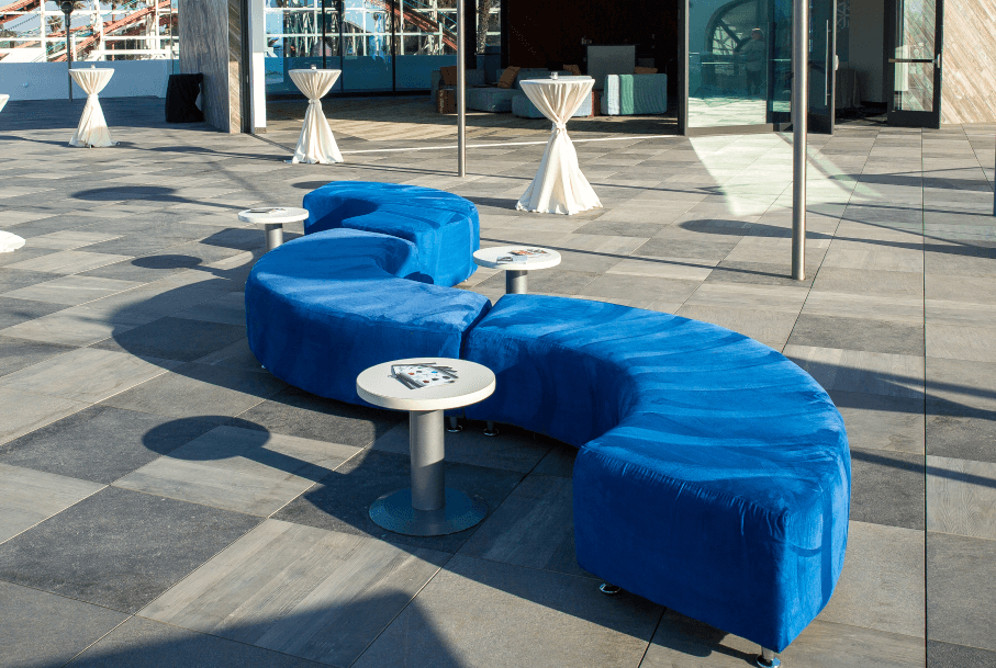 blue curved benches
