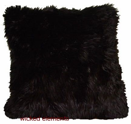 Faux Fur Pillow, Black, Large