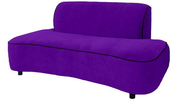 mona loveseat upholstered in wicked puple