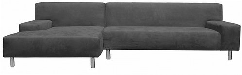 Wicked Elements Custom Euro Sectional, Microfiber Suede Grey