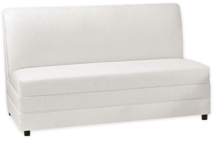white leather banquette bench