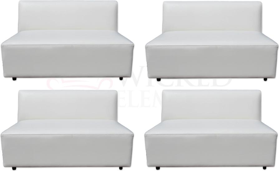 four armless sofas