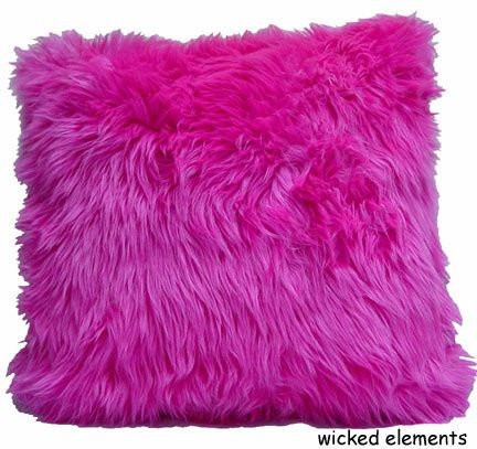 Faux Fur Pillows, Hot Pink, Large