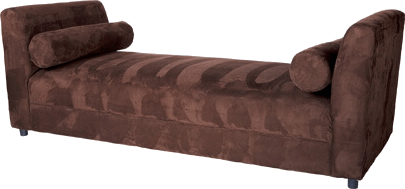 backless lounge upholstered in chocolate suede