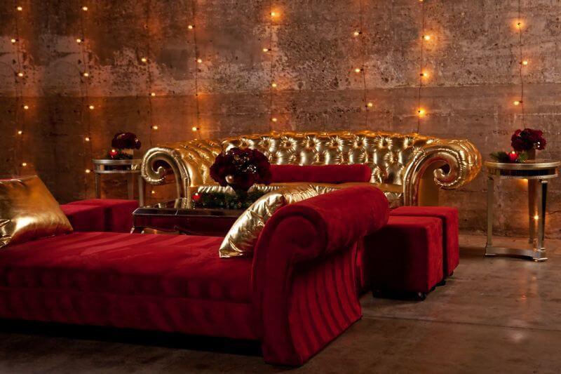 tufted gold sofa