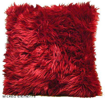 Pillow, Red Faux Fur, Large