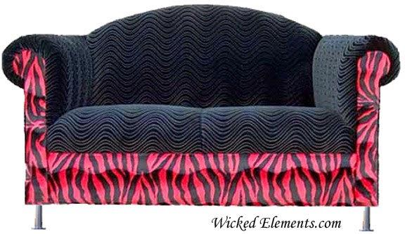 black swirl and red zebra funky loveseat