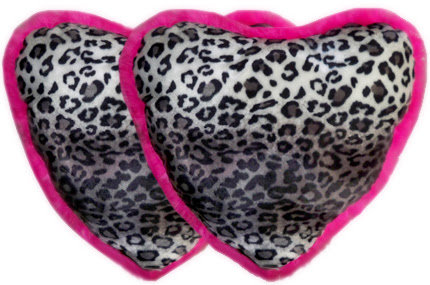 Heart Pillow Set In Snow Leopard