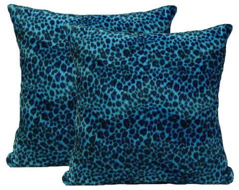 Blue Cheetah Pillow Set