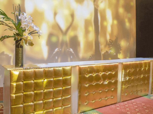 Gold Leatherette Patio Bar Set