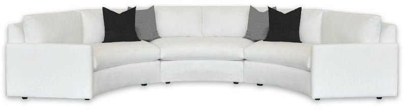 three piece curved sectional couch