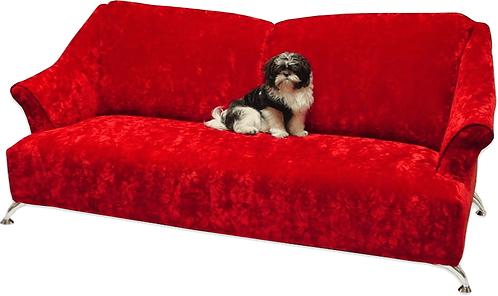 red crushed velvet sofa