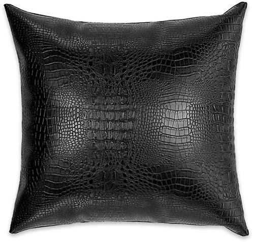 Black Faux Crocodile Pillow