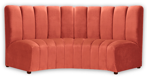 orange curved bench