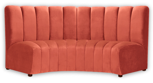 channel tufted curved bench upholstered in wicked orange