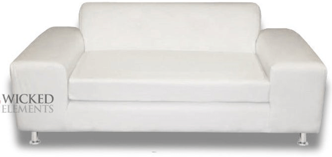 wide arm loveseat upholstered in white leather