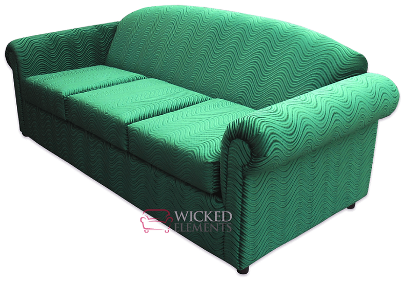 queen size funky sleeper sofa upholstered in swirl emerald