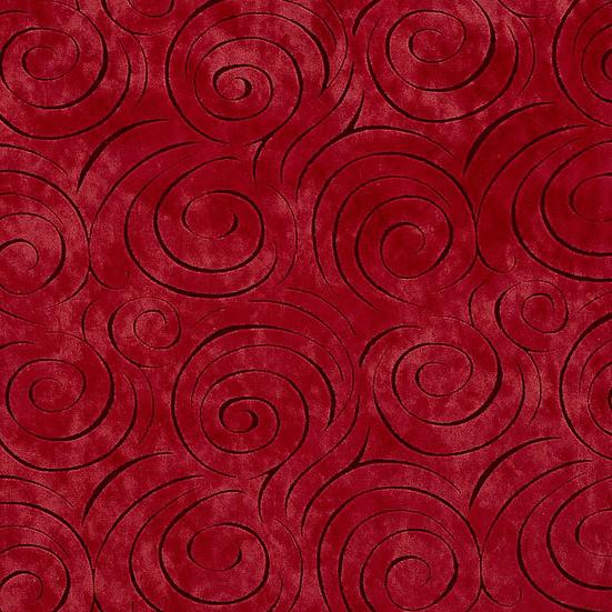 red swirl velvet fabric