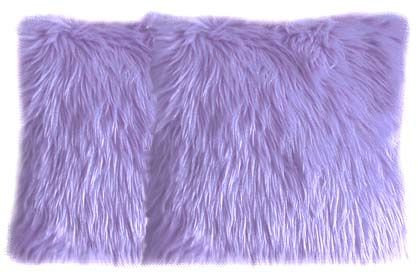 Faux Fur Lilac Pillow Set