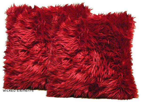Red Faux Fur Pillow Set