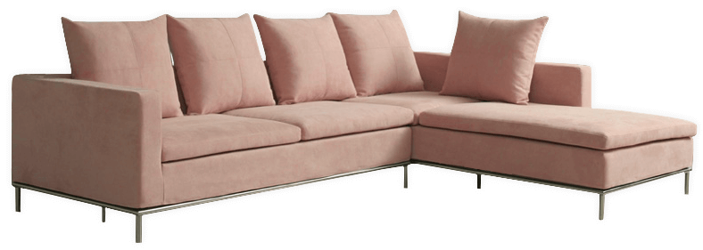 villa sectional in blush suede fabric