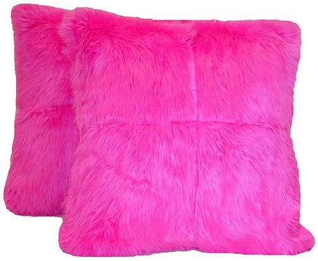 Large Pink Faux Fur Pillows
