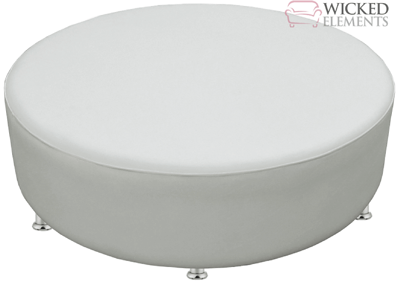 big white leather round ottoman