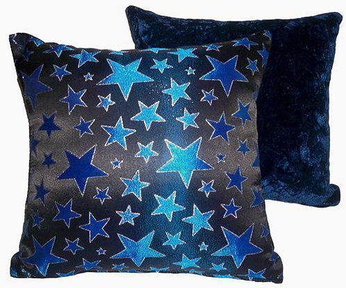 Metallic Blue Stars Pillow Set